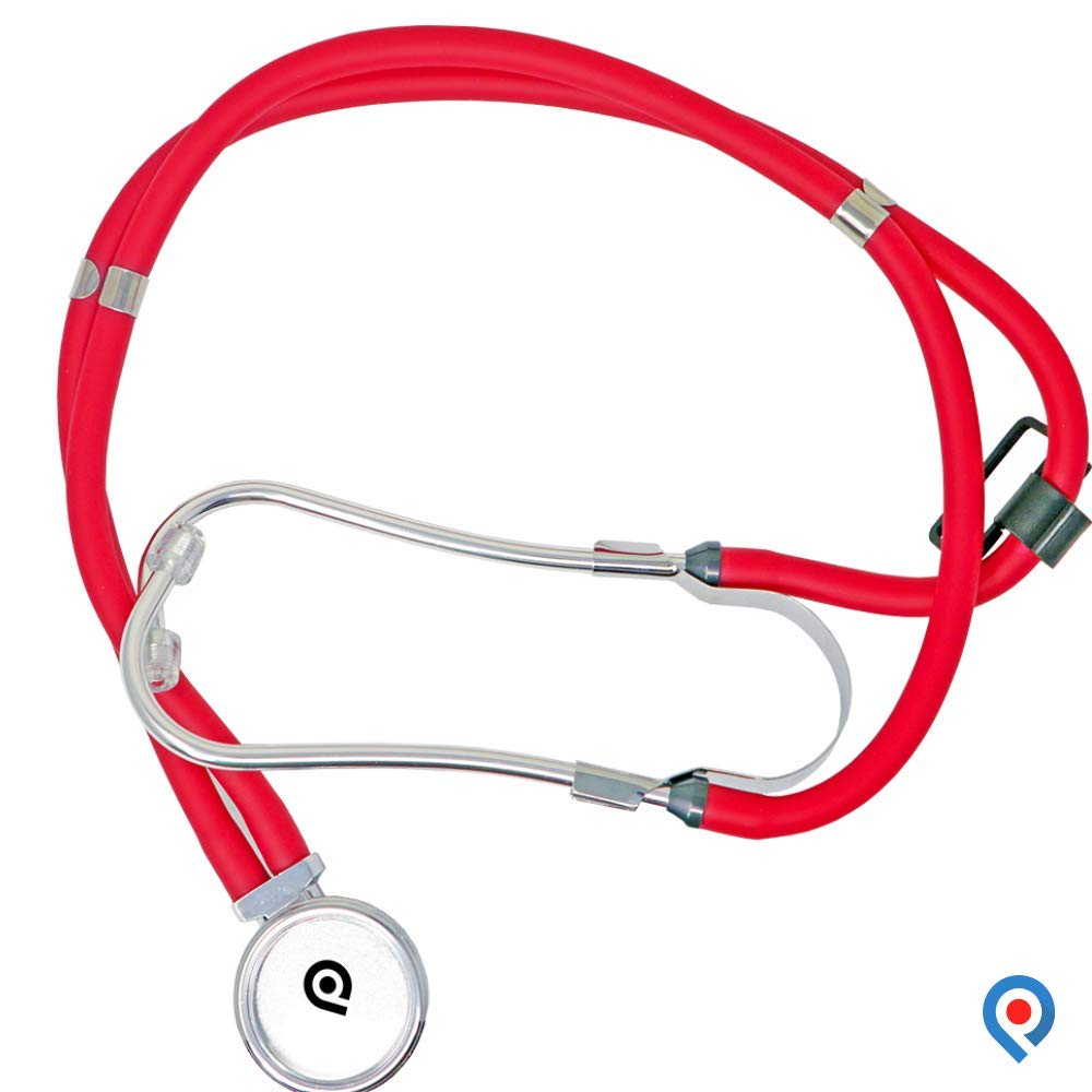 Pivit Deluxe Sprague-Rappaport Type Professional Stethoscope   22'', Red   Patented Valve Eliminates Acoustic Leakage   Dual Tubing Decreases Extraneous Sounds   Accessories & Pouch Included