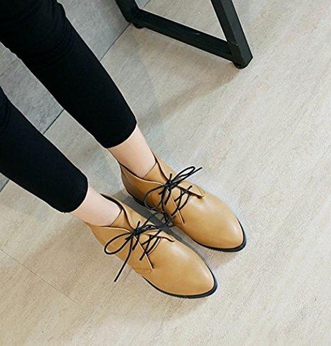Charm Foot Womens Comfort In Stile Neutro Stringato Con Tacco Basso Stivaletti Cammello