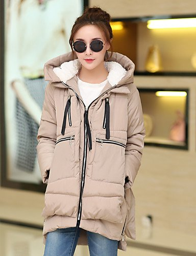YRF BLACK Black L Sleeve color Multi Women's Coat Simple Solid Hooded Long Padded rHaqwrP1x