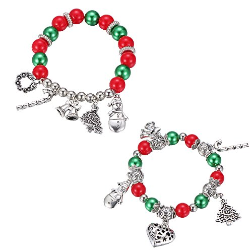 (iWenSheng Christmas Charm Bracelet Set - Kids Holiday Festive Jewelry Set for Baby Girls Children Cute Holiday Fun Christmas Santa Claus Stocking Snowman Pendant Stretch Bracelets (Pack of)