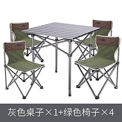 Xing Lin Table D'Extérieur Table Pliante Portable Extérieur Extérieur Léger Table De Pique-Nique Et Table Pliante Chaise, Table En Métal + 4 Chaises Vertes