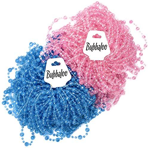 (Baby Gender Reveal Beads, Set of 50, Pink & Blue, 33 Inch with Bonus Team Boy/Girl)