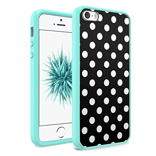 iPhone SE Case, iPhone 5s / iPhone 5 Case, Capsule-Case Hybrid Slim Hard Back Shield Case with Fused TPU Edge Bumper (Teal Green) for iPhone SE / iPhone 5s / iPhone 5 - (Polka Dot Black) (Iphone 5 Polka Dot Case)