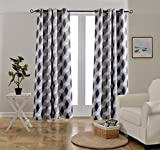 dark grey curtains sale Mysky Home 3D Geometry Fashion Design Print Thermal Insulated Blackout Curtain with Grommet Top for Living Room, 52 by 95 inch, Dark Grey - 1 Panel