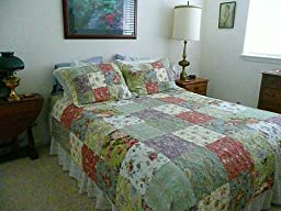 Amazon.com: Greenland Home Blooming Prairie Full/Queen Quilt Set: Home & Kitchen