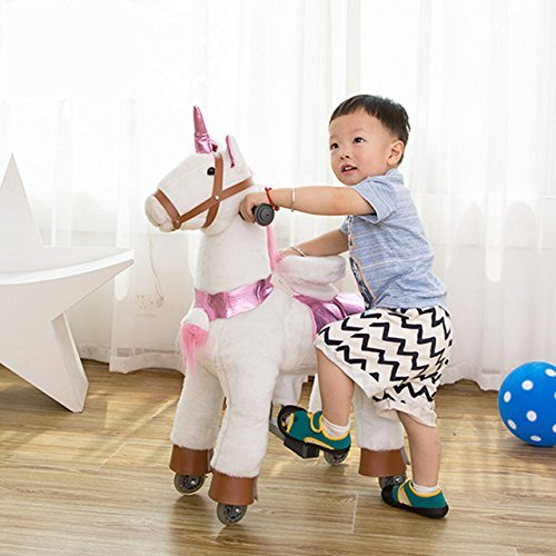 TODDLER TOYS Unicorn Pony Rocking Trotting Ride On Horse Mechanical Walking Cycle Giddy Up Cowboy! Ages 2-5 ()