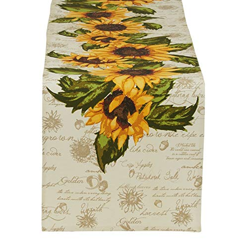 DII Design Imports Rustic Sunflower Table Linens - Fall - Autumn - Thanksgiving (14 inch x 72 inch Table Runner) (Autumn Linens Table)