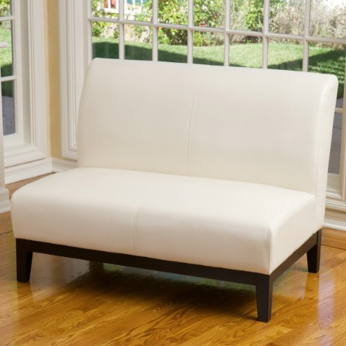 Massimo Ivory Leather Loveseat
