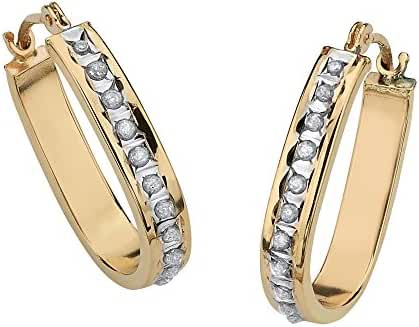 Round White Diamond Accent 14k Yellow Gold Diamond Fascination Hoop Earrings (14.5mm)