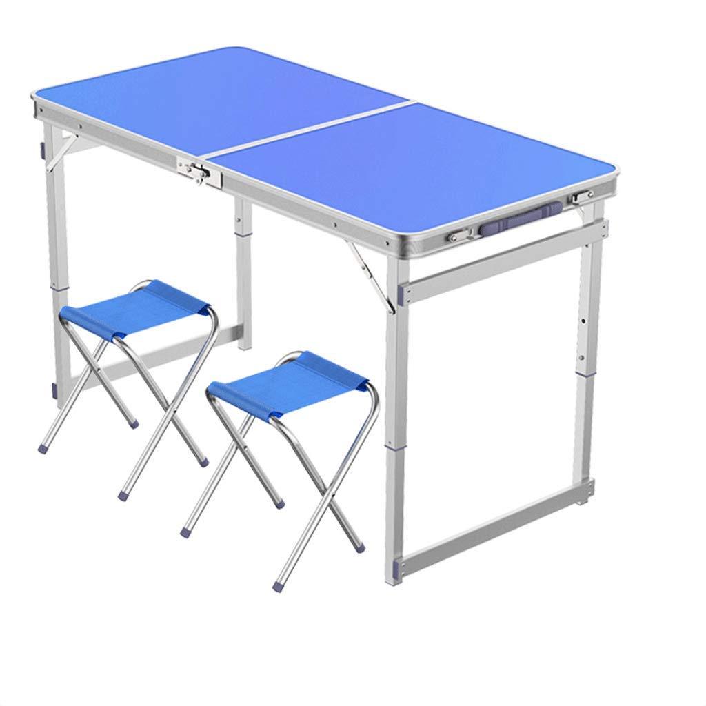 DONGY Table Pliante Portable à l'extérieur en Alliage d'aluminium Plier Table ménage Simple et Facile pli carré Tube Bleu Table à Manger et Chaise pour extérieur Camping intérieur Bureau  Table +2 stool