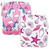 ALVABABY Swim Diapers Large Size 2pcs Reuseable Washable & Adjustable for Swimming Lesson & Baby Shower Gifts ZYK44-D45