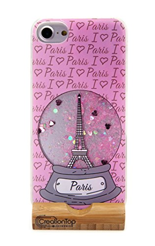 Paris Glitter (Creationtop iPhone 6 6s Case, TPU Bumper, Scratch Resistant, Hard Back with Liquid Quicksand Bling Adorable Floating Moving Shine Infused with Glitter (Paris Pink cover Iphone 6/6s))