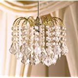 Clear Acrylic Crystal Pear Droplet Gold Frame 3 Tier Chandelier Ceiling Shade Pendant