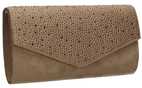 Ladies Bag Leather Finish Suede Party Clutch SWANKYSWANS Nude Sandra Womens Envelope Velvet Diamante Prom qgXwnPz