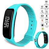 Fashionlive Smart Band Wristband Heart Rate Blood Pressure Oxygen Monitor Waterproof OLED Touch Screen Pedometer Sedentary Reminder for ios iphone Android Phones (Blue)