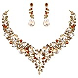 BriLove Wedding Bridal Necklace Earrings Jewelry Set for Women Austrian Crystal Teardrop Cluster Statement Necklace Dangle Earrings Set Champagne Gold-Toned