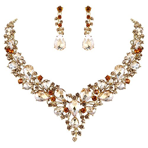 BriLove Wedding Bridal Necklace Earrings Jewelry Set for Women Austrian Crystal Teardrop Cluster Statement Necklace Dangle Earrings Set Champagne Gold-Tone Beautiful Austrian Crystal Rhinestone Necklace