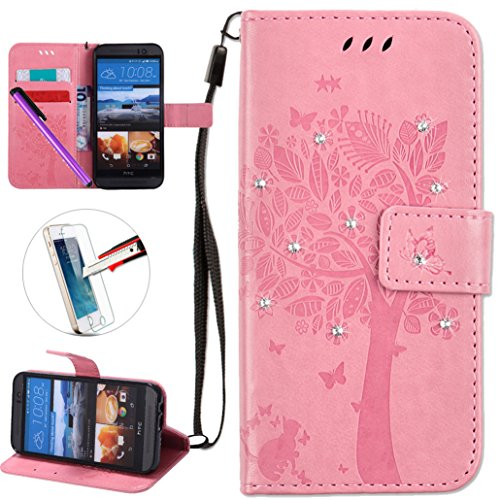 HTC One M9 Case, ISADENSER PU Leather Wallet Book Shell Luxury 3D Handmade Shine Diamond Embossing Tree Cat Butterfly Pattern Flip Protective Cover Case For HTC One M9 - Pink Wish Tree
