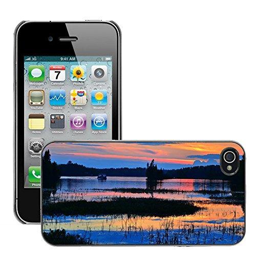 Stampato Modelli Hard plastica Custodie indietro Case Cover pelle protettiva Per // M00421761 Soirée Sunset Lake Water Nature // Apple iPhone 4 4S 4G