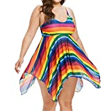 Sinwo Women Tankini Beach Swimsuit Padded Bathing Colorful Striped Dress Briefs Suit Swimwear (XL, Multicolor)