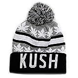 City Hunter Sk1160 Kush Leaves Pom Pom Beanie Hats (Light Grey/black)