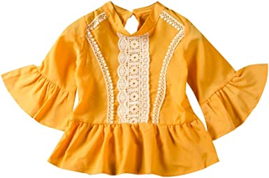 URMAGIC Camisas para niñas, Niñas Niños Volantes Amarillos ...