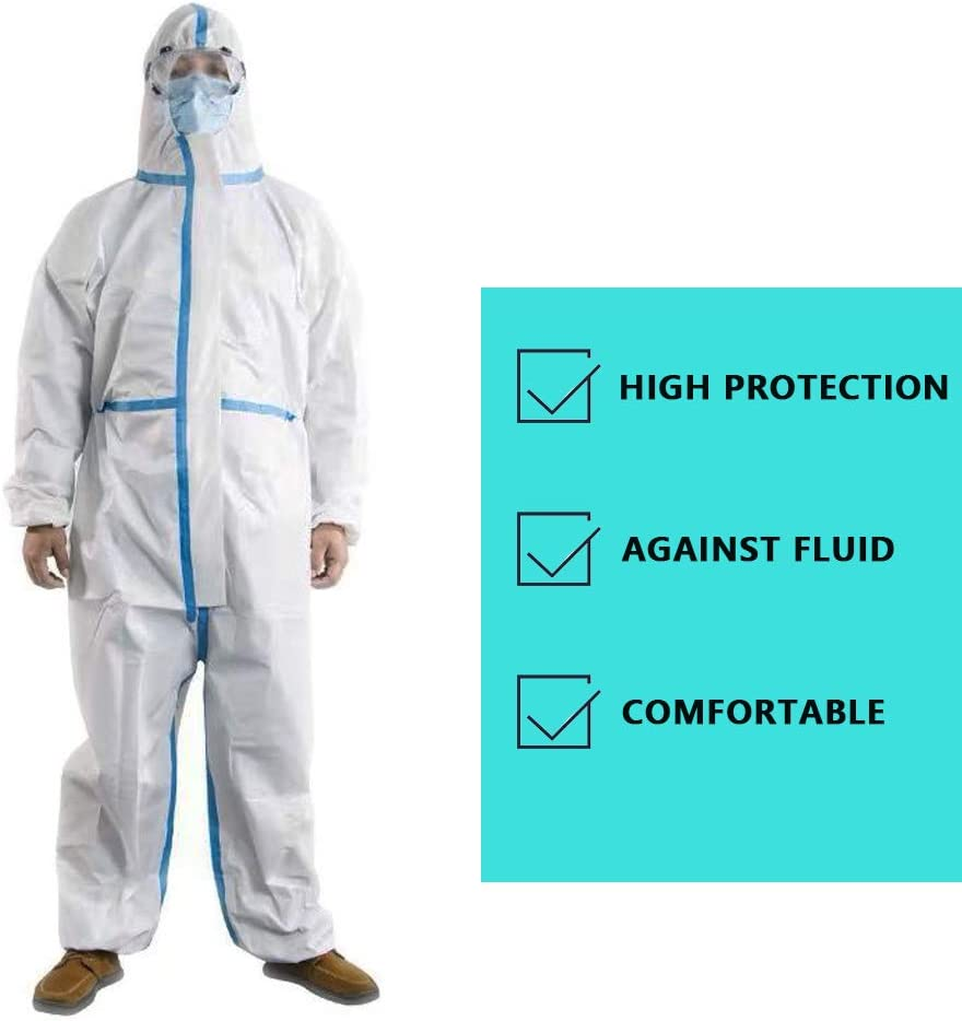 XX-Large Disposable Medical Coveralls Protective Surgical Overalls One Piece Design with Attached Hood Elastic Cuff and Reinforced Seam 1 Pack
