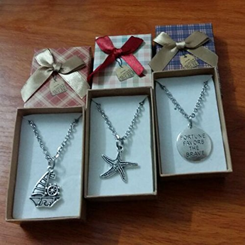 "6pcs Party Favor Gifts Keepsake - Anti Silver Alloy Charm Stainless Steel Necklace - Starfish Sailboat ""FORTUNE FAVORS THE BRAVE"" Gift Set - for Boys Girls Inspirational Graduation Birthday Wedding"