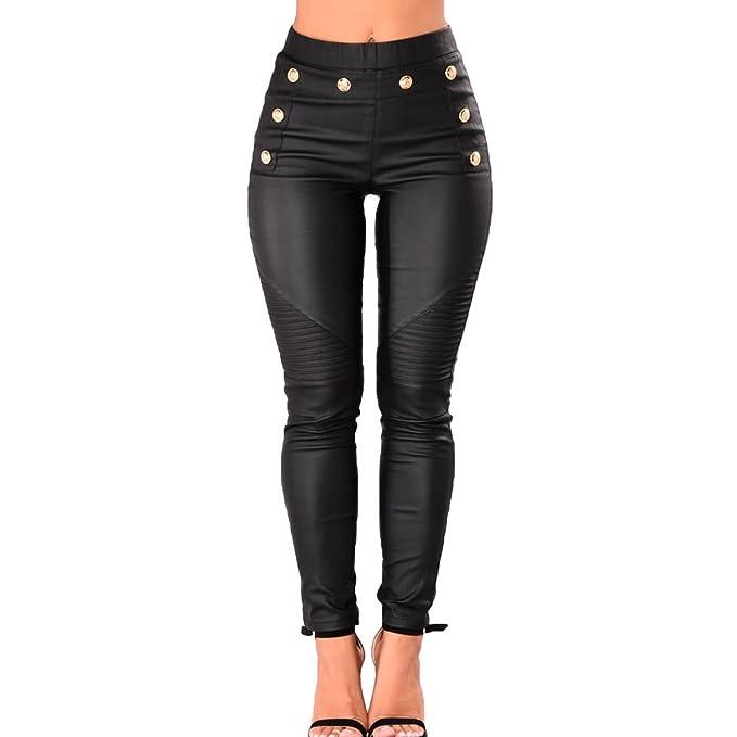 c489bf13d9 Hibote Mujer Pantalones de Cuero - Moda Cómodo Cintura Elástico Skinny  Leggings Cintura Media Primavera Otoño Casuales Pantalones Lápiz Polainas   Amazon.es  ...