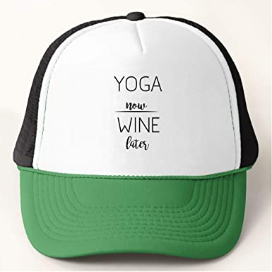 b9986ed1 Amazon.com: Yoga Now - Wine Later Baseball Cap Trucker Hat: Clothing