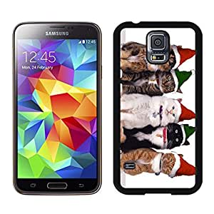 Design for Mass Customization Green Red Christmas Hat Cats Samsung Galaxy S5 Black Silicone Case,Samsung I9600 Case by icecream design