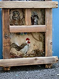 Shadow Box Barn w/ Chicken, Cat & Owls Framed in Old Barn Siding. Feather embroidery Animals, Beads, Wire Wheels, Twine, Yarn, Hay and Rope. ONE OF A KIND!