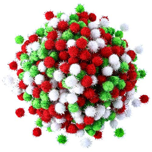 - Hestya 500 Pieces 0.5 Inch Christmas Pompoms Glitter Pom Poms for Craft Making and Hobby Supplies (White, Light Green, Red)