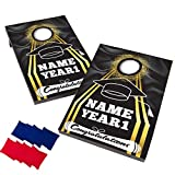 VictoryStore Custom Graduation Bag Toss Game – Custom Graduation Cornhole - Black and Gold Design