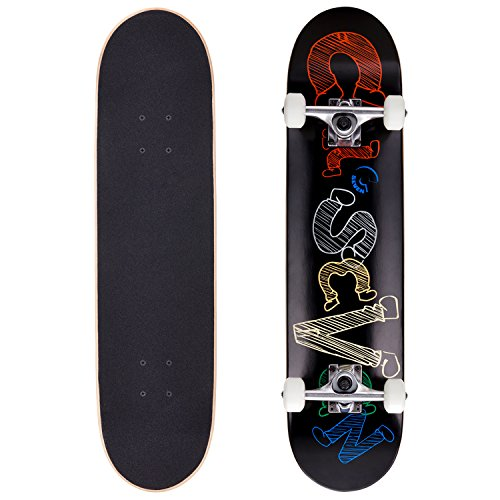 """Cal 7 Complete Skateboard, Popsicle Double Kicktail Maple Deck, Skate Styles in Graphic Designs (7.5"""" Fresno)"""