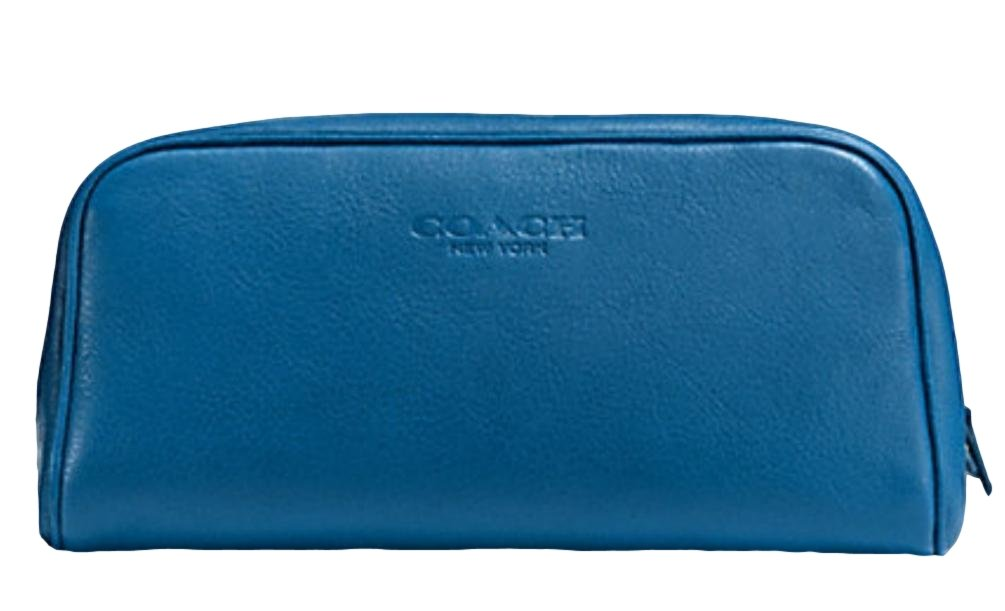 Coach Leather Weekend Travel Kit Toiletry Dopp Shave Bag NWT $185 Blue Denim F93445