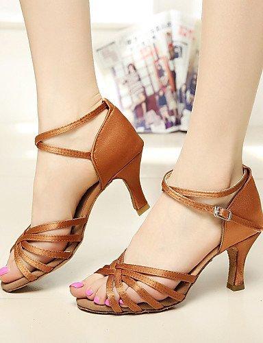 ShangYi SUN LISA Customizable Women's Dance Shoes Latin / Salsa Satin Customized Heel Black / Brown / Silver / Leopard / Other black and gold s2KQ4SDA8q