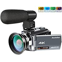 4K Camcorder,Ansteker 48MP 30FPS Ultra HD WiFi Video Camera IR Night Vision Digital Camcorder Portable 3 inch Touch Screen Video Camera Camcorder with External Microphone and Wide Angle Lens