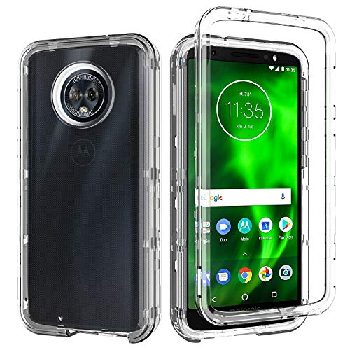 Moto G6 Case,Moto G(6th Generation) Case,SLMY(TM) Heavy Duty Armor Shockproof Resistant Hybrid Soft Silicone Hard PC Cover Case for Motorola Moto G6 5.7 Inch-Clear