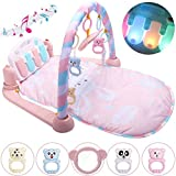YIY Baby Kick & Play Piano Gym PlayMat Activity Mat Toys with Soft Music and Lights for New-Born Baby/Birth Boys and Girls (Pink, 71*59*40cm)