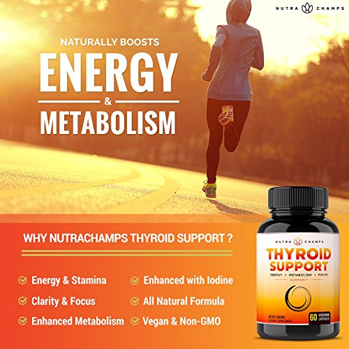 Thyroid Support Complex with Iodine for Energy, Metabolism & Focus - Vegetarian, Non-GMO Soy & Gluten Free - Natural Supplement with Vitamin B12, Ashwagandha, Kelp, Zinc, Selenium, Copper & More