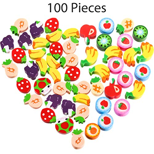 100 Pieces Mini Fruit Erasers Assortment, Colorful Grape, Apple and Strawberry Assorted Eraser Mini Novelty Fruit Erasers for Party Favors, Homework Rewards, Gift Filling (Style 3, 100 Pieces)