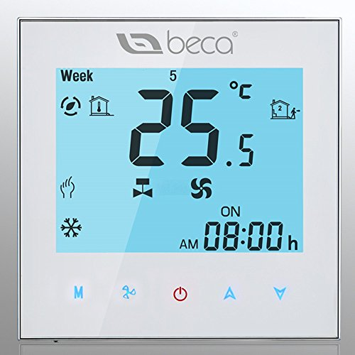 BECA 95~240VAC Two Pipe Heating/Cooling LCD Digital Touch Screen 5+2 Weekly Programmable Fan Coil/FCU/Fan Coil Unit/Central Air Conditioning/HVAC Room Thermostat NOT FOR HEAT PUMP(White)