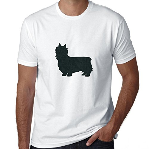 Silky Terrier Dog Simple Silhouette 100% Men's Cotton T-Shirt