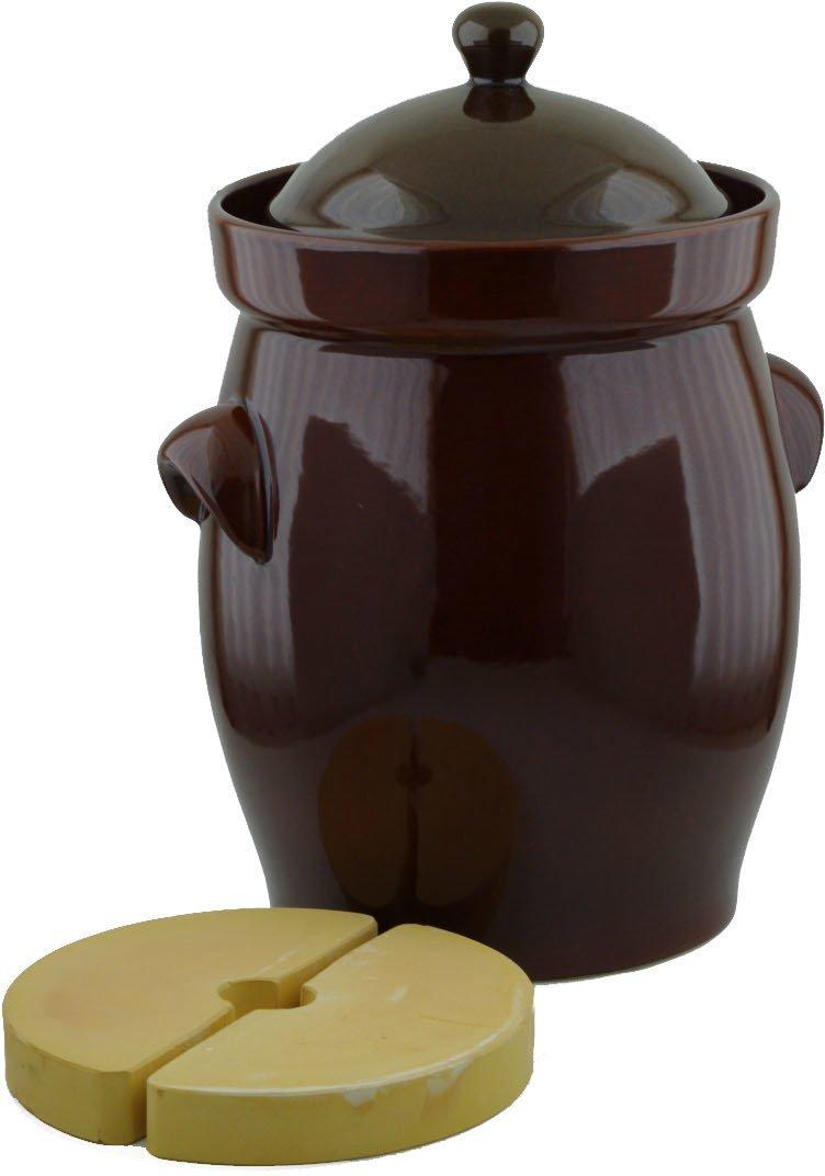 Fermentation Harvest Pot with Stone Weight, 20L (5.3 gal), Original Bunzlau made in Boleslawiec, Poland. Durable quality product.