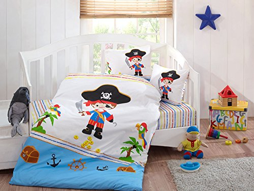 LaModaHome Exotic Baby Bedding Set, 100% Cotton - Little Pirate Prince, Boy, Sea, Parrot, White - Set of 5 - Comforter, Duvet Cover, Flat Sheet and Two Pillowcases for Baby, Toddler