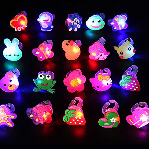 Wekity Party Favors for Kids' Birthday Flashing LED Jelly Light Up Rings Toys 50pc Prizes for Kids Classroom Glow in The Dark Party Supplies Novelty Glow Blinking Toy Rings (Cartoon Set)