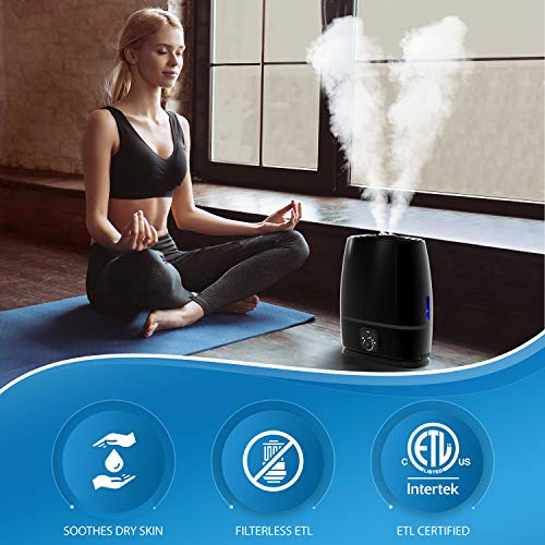 Everlasting Comfort Humidifiers for Bedroom 6L  Humidifier with Essential Oil Tray Black