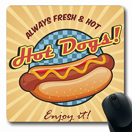 Ahawoso Mousepads Fast Red Hotdog American Hot Dog Sandwich Ketchup Mustard Food Drink Yellow Vintage Retro BBQ Eat Oblong Shape 7.9 x 9.5 Inches Non-Slip Gaming Mouse Pad Rubber Oblong Mat