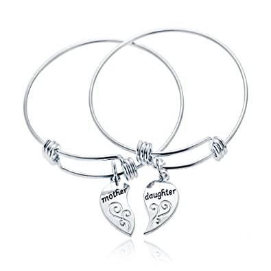 2pcs Silver Alloy Broken Heart Split Puzzl Mother and Daughter Charm Pendant Bracelet Gift for Family WNGZO7h5v